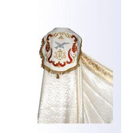 Kapa kolor biało/ecru ze złotym pasem