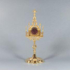 Relikwiarz mosiężny pozłacany - gotycki mały
