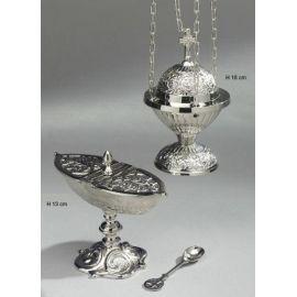 Trybularz + łódka + łyżeczka - komplet koloru srebrnego