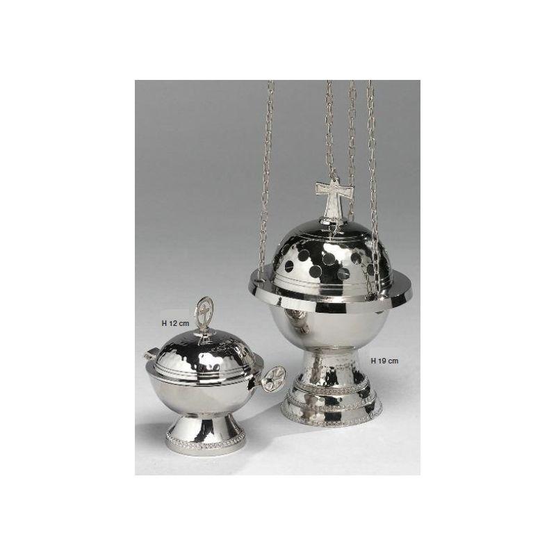 Trybularz + łódka + łyżeczka - komplet koloru srebrnego (2)