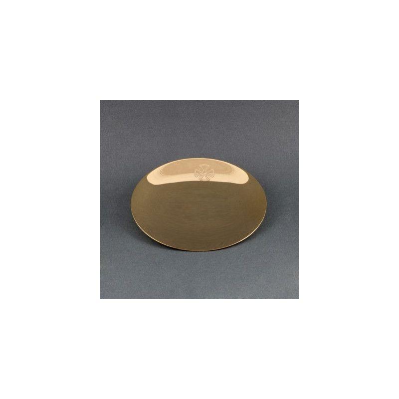 Patena kielichowa mała - mosiężna pozłacana śr. 13 cm