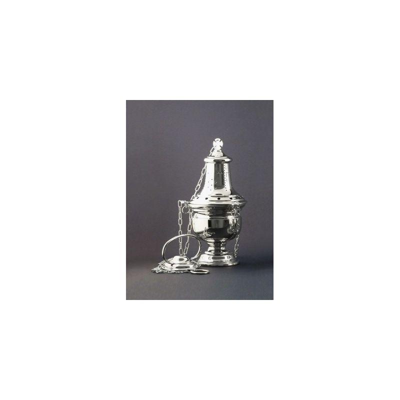 Trybularz mosiężny niklowany wys . 26 cm