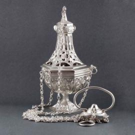 Trybularz mosiężny srebrzony wys. 26 cm