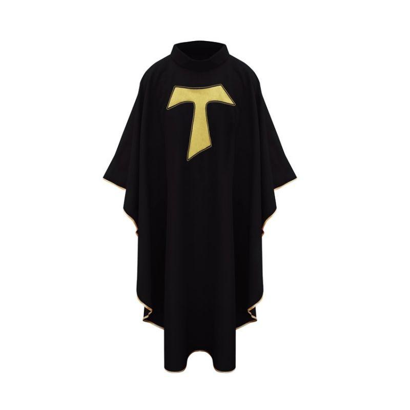 Ornat  franciszkański z  krzyżem TAU - czarny