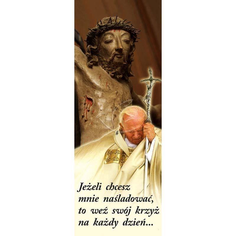 Baner religijny - Święty Jan Paweł II Jezus na krzyżu