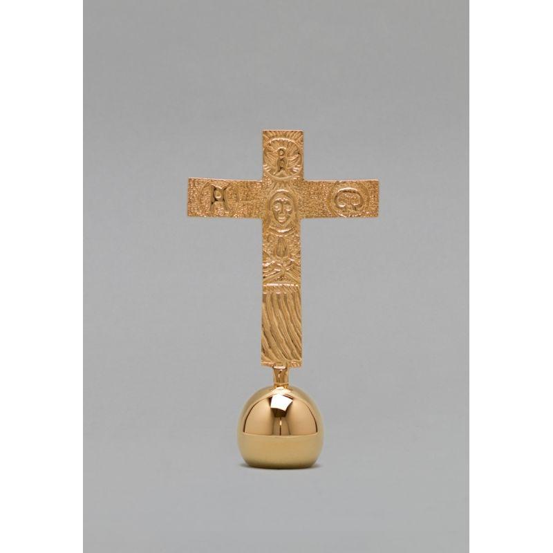 Krzyż pozłacany z kulą - 17 cm