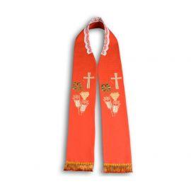 Stuła kapłańska haftowana - czerwona (10)