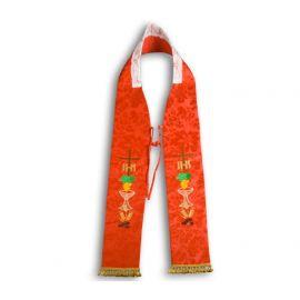 Stuła kapłańska haftowana - czerwona (11)