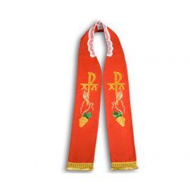 Stuła kapłańska haftowana - czerwona (18)
