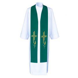 Stuła kapłańska krzyż i kłosy - haftowana (5)