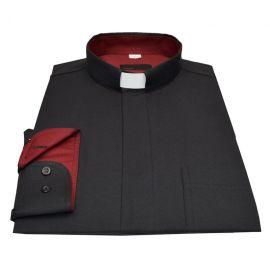 Koszula kapłańska - czarna z bordo wstawką