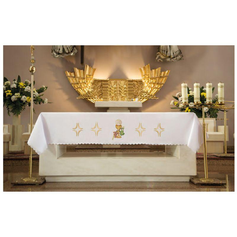 Obrus ołtarzowy - haftowany symbol KIELICH IHS
