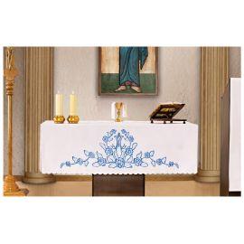 Obrus ołtarzowy - haftowany symbol Maryjny + Lilie niebieskie