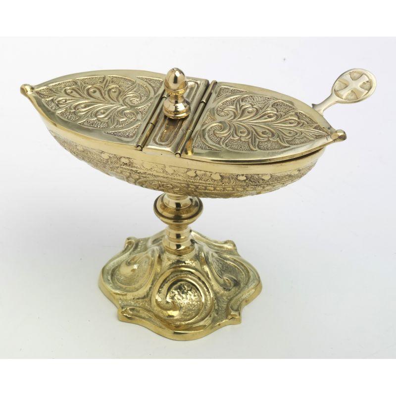 Łódka mosiężna kolor złoty, wys. 12 cm