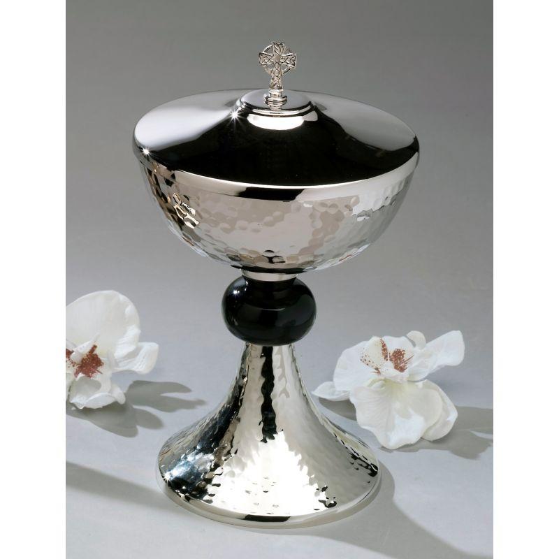 Puszka srebrna z czarnym pierścieniem - 24 cm
