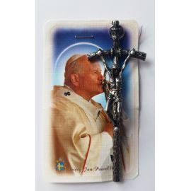 Krzyżyk papieski na rzemyku - z obrazkiem