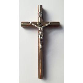 Krzyż drewniany z listwą srebrną - 16x8,5 cm
