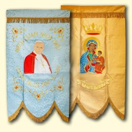 Chorągiew haftowana -  Święty Jan Paweł II