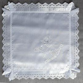 Szatka do Chrztu - kwadrat (białe gołębie)