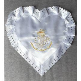 Szatka do chrztu - serce, haft złoty