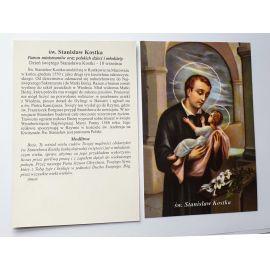 Duży obrazek z modlitwą do Świętego Stanisława Kostki - laminowany