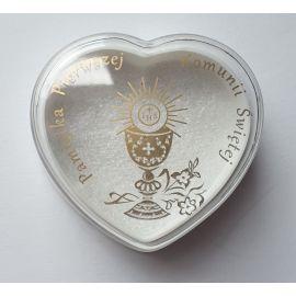 Pudełko na różaniec komunijny - serce