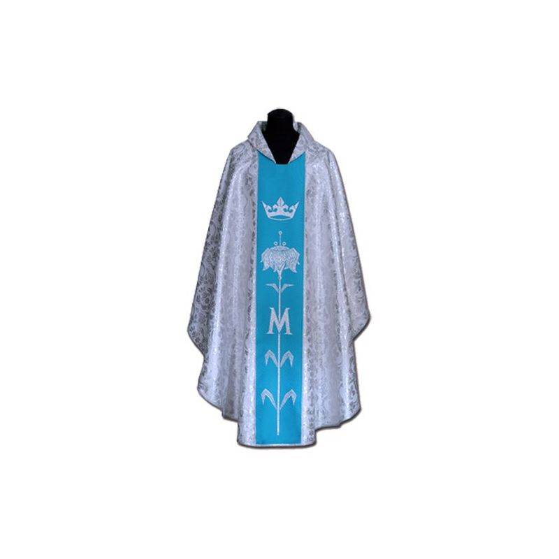 Ornat Maryjny niebieski + ornament srebrny (59A)