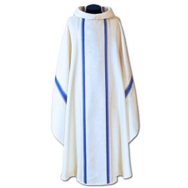 Ornat Maryjny tkanina lejąca ecru/niebieska (48A)