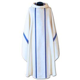Ornat Maryjny tkanina lejąca złoto niebieska (48A)