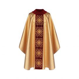 Ornat gotycki aksamit złoty, miodowy (11)