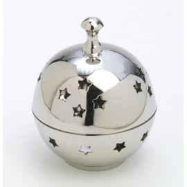 Kadzielniczka srebrna, mosiężna z pokrywką - 10 cm