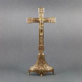 Krzyż ołtarzowy, mosiężny, stojący wys. 53 cm