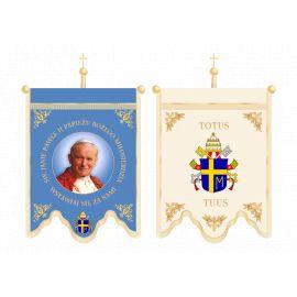Chorągiew dwustronna z drzewcem + okucia dwustronna - Jan Paweł II