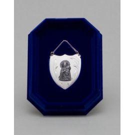 Ryngraf srebrny z wizerunkiem Matki Bożej - 4 cm.