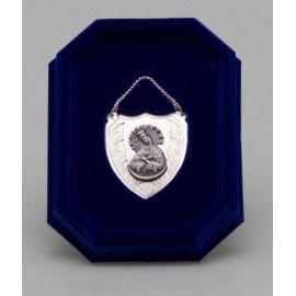 Ryngraf srebrny z wizerunkiem Matki Bożej Ostrobramskiej - 4 cm.