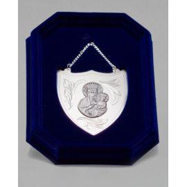 Ryngraf srebrny z wizerunkiem Matki Bożej Częstochowskiej - 7 cm.