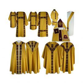 Komplet Szat Liturgicznych - aksamitne pasy