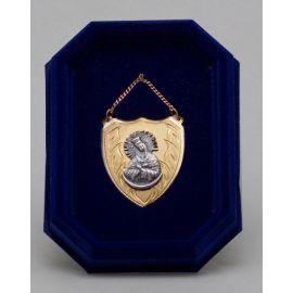 Ryngraf złocony z wizerunkiem Matki Bożej Ostrobramskiej - 4 cm.