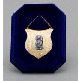 Ryngraf złocony z wizerunkiem Matki Bożej Ostrobramskiej - 5 cm.