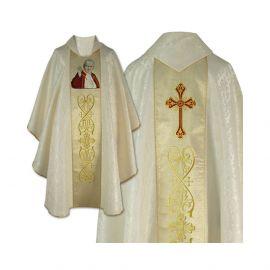 Ornat gotycki haftowany - Święty Jan Paweł II