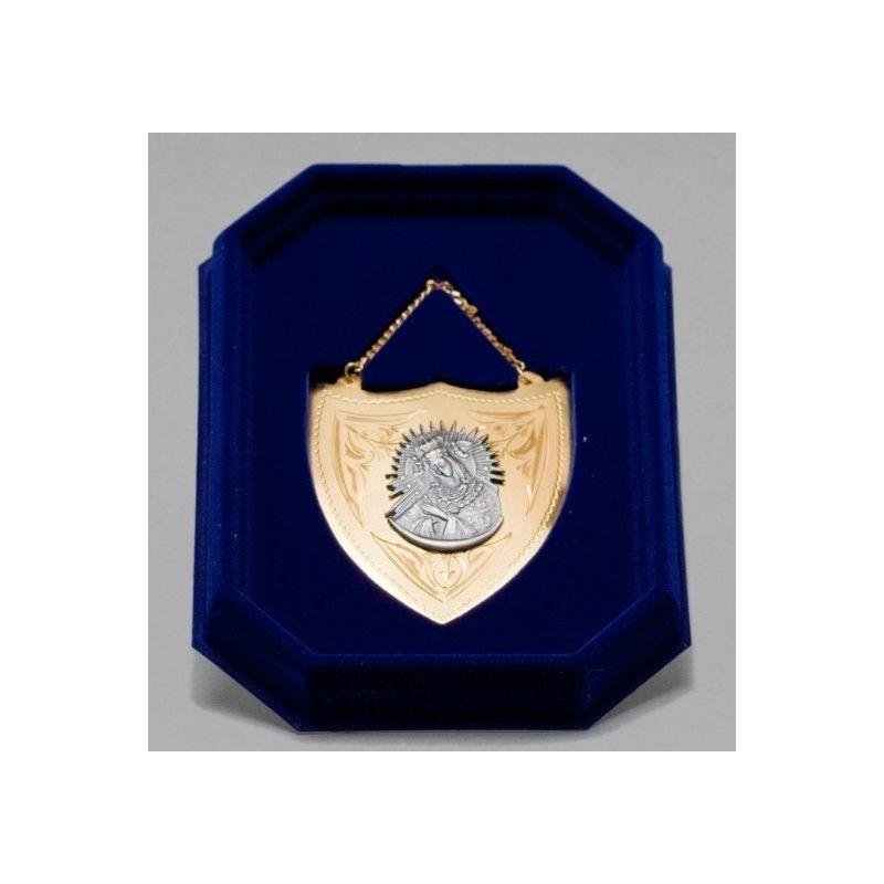 Ryngraf złocony z wizerunkiem Matki Bożej Częstochowskiej - 7 cm.