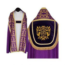 Kapa fioletowa wzór gotycki - tkanina żakard (9)