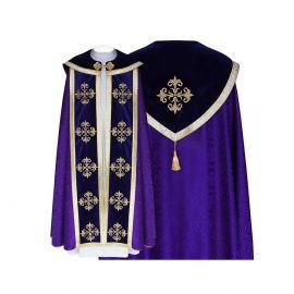 Kapa fioletowa wzór gotycki - tkanina żakard (11)