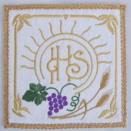 Palka haftowana ecru - IHS, kłosy, winogrono