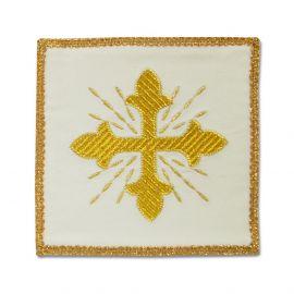Palka haftowana ecru, aksamit - złoty krzyż