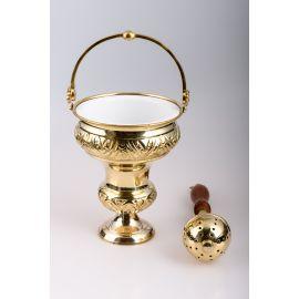 Kociołek na wodę święconą, mosiężny + kropidło (złoty)
