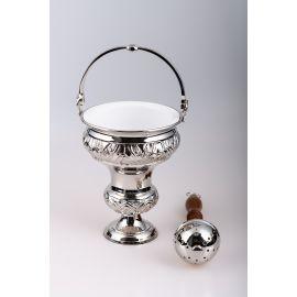 Kociołek na wodę święconą, mosiężny + kropidło (srebrny)