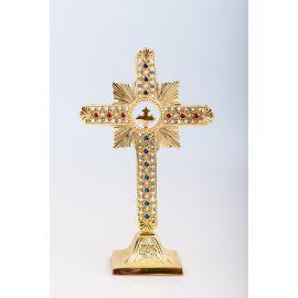 Krzyż stojący nowoczesny, mosiężny, pozłacany - 25 cm