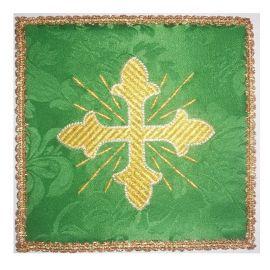 Palka haftowana zielona - złoty krzyż + promienie