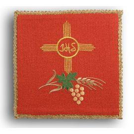 Palka haftowana czerwona - IHS w kole, krzyż , kłosy